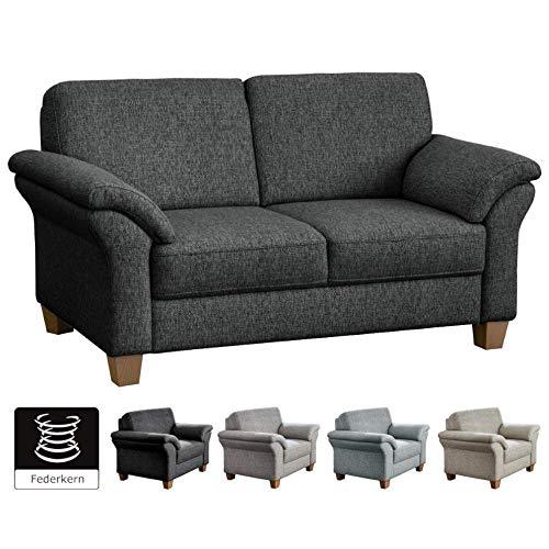 CAVADORE 2-Sitzer Byrum im Landhausstil / Große Couch mit Federkern / 156 x 87 x 88 / Grau