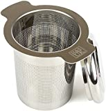 H&S Stainless Steel Tea Infuser Strainer Filter Steeper with Lid for Teapot Kettle Loose Leaf Grain Tea Cups Mugs Pots