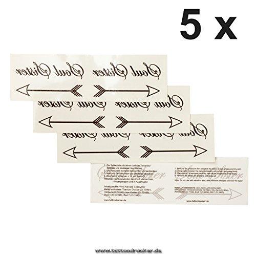5 x Soul Sister Doppel Tattoo mit Pfeil in Schwarz - Temporary Haut Tattoo (5)