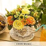 LLPXCC künstliche Blume Wohnzimmer Esstisch Swing Haus und Einrichtung Amerikanische Stroh Topfpflanzen und Wandmontage zum Korb Blumen Blumensträuße Basketsthatmixed Orange Gelb Grün
