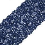 Yalulu 5 Yards Elastizität Spitzenbordüre Band DIY Handwerk Farbband mit Spitzen für Handwerk Dessous Hochzeitskleid Hochzeit Dekor 15cm Breite (Navy Blau)