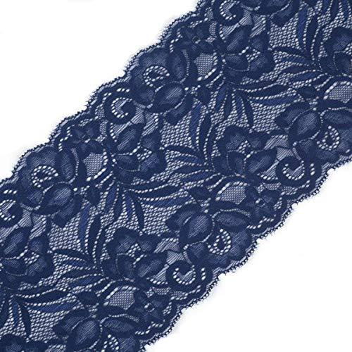 Yalulu 5 Yards Elastizität Spitzenbordüre Band DIY Handwerk Farbband mit Spitzen für Handwerk Dessous Hochzeitskleid Hochzeit Dekor 15cm Breite (Navy Blau) -