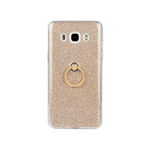 Luxus Bling Sparkle Style Case, Soft TPU [Silikon] Flexible Glitter Back Cover mit Fingerring Stand für Samsung Galaxy J5 2016 ( Color : White ) Gold