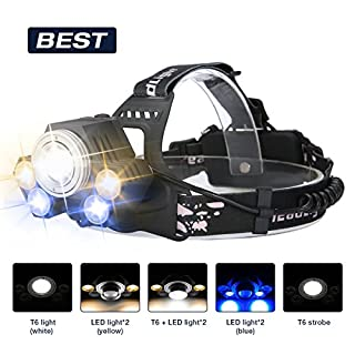 LED Headlamp Head Torch,SGODDE 5 LED 8000LM Super Bright Headlight, Waterproof Safety Head Lamp for Cycling, Dog Walking
