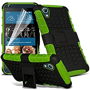 (Vert) HTC Desire 626 Haute Qualité Tough Durable de choc Survivor dur Rugged Preuve Heavy Duty avec stand Retour Skin Case Cover & Screen Protector Par i-Tronixs