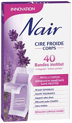 Nair - 40 Bandes de Cire Froide Corps - Séparation Immédiate Sans Frotter - Lavande