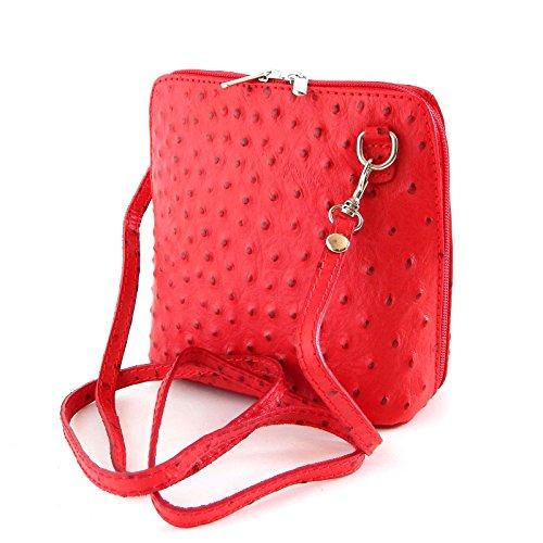 1b5251c0103b3 Vera Pelle Handtaschen Italien Echt Leder Schultertasche Frauen Damen  Tasche Handtasche Ital Bag Rot Ostrich