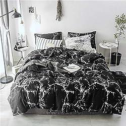 BFMBCH Nouvelle literie Coton Simple Vent Noir marbre Housse de Couette Textile à la Maison en Trois pièces A 180 cm * 210 cm
