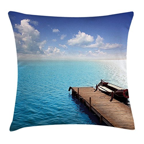 Summer Throw Pillow Cushion Cover, Wooden Deck on Charm Lake Holiday Europe Coast Tranquil Sea View, Decorative Square Accent Pillow Case, 18 X 18 Inches, Violet Blue Turquoise Redwood - Redwood-deck