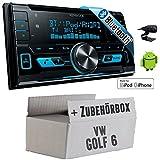 VW Golf 6 VI - Kenwood DPX-X5000BT - 2DIN Bluetooth USB Autoradio - Einbauset