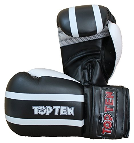 TOP TEN Erwachsene Boxhandschuhe Stripes, Schwarz/Weiß, 10, 2271-9010 Top Ten Handschuhe