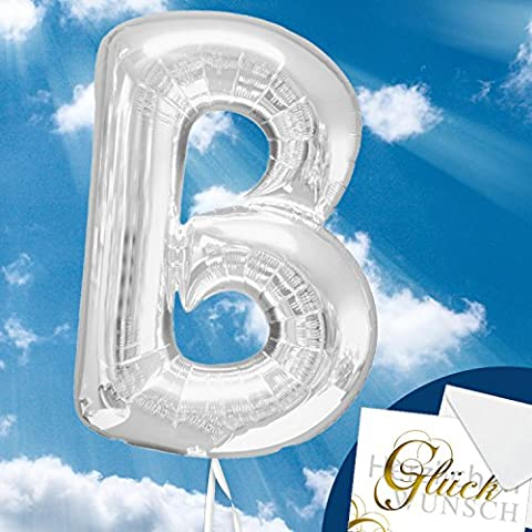 Folienballon - Buchstabe B - Silber - 40cm, Luftballon mit Buchstaben + PORTOFREI mgl + Geschenkkarten Set + Helium & Ballongas geeignet. High Quality Premium Ballons vom Luftballonprofi & deutschen Heliumballon Experten. Luftballon Geschenk und lustige Ballon