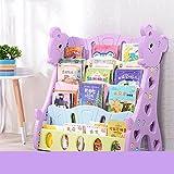 Bücherregal Kinder einfache Boden Baby Zeitschriftenregale Studenten Bücher Kindergarten Zeitung Display Stand (Farbe : Lila)