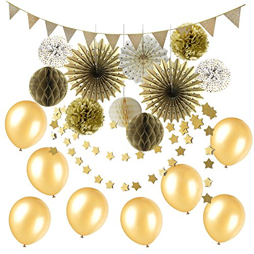 Easy Joy Gold Party Dekoration Set Gold Wimpelkette Rosetten Pompoms Latexballons - Gold-rosette