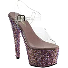 Pleaser BEJEWELED-708MS Clr/Lavender Multi RS Size UK 6 EU 39