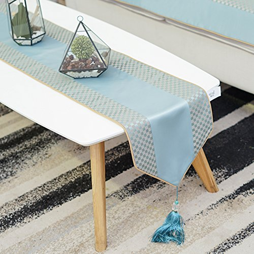 Nappe Indicateur de table allongé simple Tissu décoratif luxueux de drapeau Lit pavillon Couverture de coffret de tv anti-skid-A 30x200cm(12x79inch)