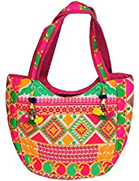 Exotic India Multicolored Shopper Bag From Gujarat With Thread-Embroidery All-Over
