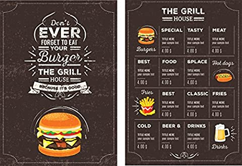Restaurant menus–350g/m² de soie imprimé stratifié ou brut carte A4297mm x 210mm–20Qté