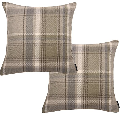 McAlister Textiles Signature Kollektion   2er Packung Heritage Kissenbezüge im Tartan-Muster Kariert 40cm x 40cm in Beige Natur   Deko Kissenhülle für Zierkissen, Sofa, Bett, Couch