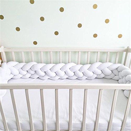 Baby Nestchen Bettumrandung Handmade Geflochtene krippe stoßstange Lange plüsch kindergarten Wiege dekor Kleinkind schlaf stoßstange-Weiß 300cm(118inch) - Bettwäsche Stoßstange Kinderbett Weiße