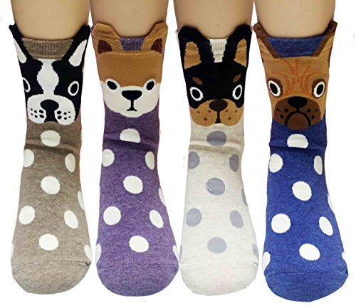 JJMax Women's Dog Boston Terrier Chihuahua Shiba Inu Bulldog Socks