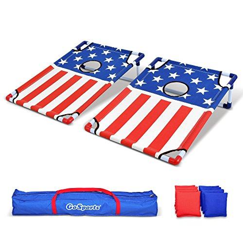 GoSports tragbar PVC gerahmt Cornhole Spiel Set mit 8Bean Bags und Tragetasche-wählen Sie Amerikanische Flagge Design, Fußball oder Classic rot & blau, America