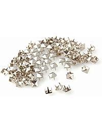Ecloud Shop® 2 pieces 100X Apliques Remaches 7mm Plateado Cuadrado Studs Punk Bolsa/Calzado/Guante