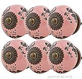 Möbelknopf Möbelknauf Möbelgriff Set Nr.76 6er rosa Keramik Porzellan handbemalte Vintage Möbelknöpfe für Schrank, Schublade, Kommode, Tür - Jay Knopf