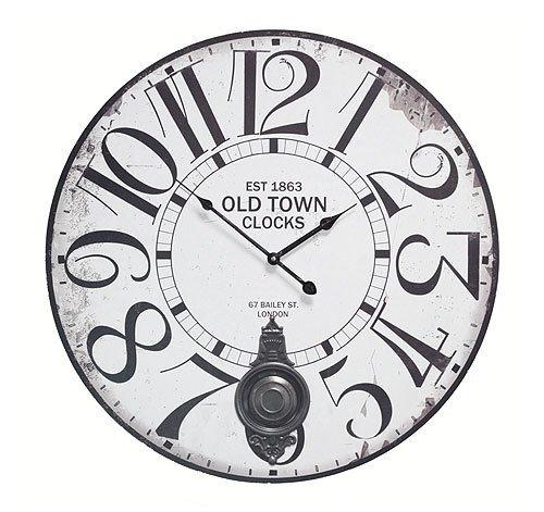 Große Wanduhr mit Pendel 'Old Town London' Nostalgie Pendeluhr Antik-Stil 58 cm