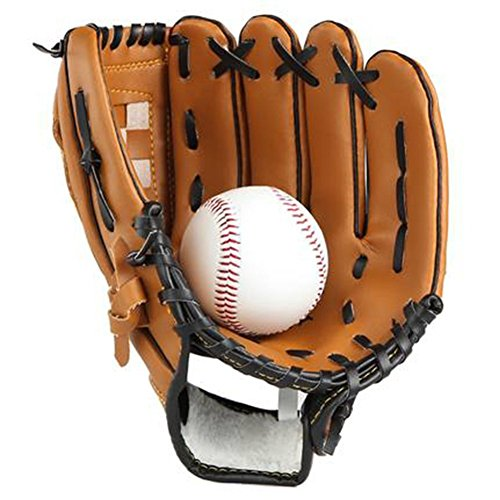 Batting Handschuhe Krug Baseball Handschuhe mit einem Ball Softball Handschuhe für Kinder Erwachsene (12.5'', Braun)