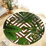 Scrolor Bodenteppiche Wohnzimmer Anti-Rutsch Runde Teppiche für Sofa Stuhl Boden Dekoration Kissen Decke Bad Läufer Teppich Sommer Tropische Pflanzen Muster