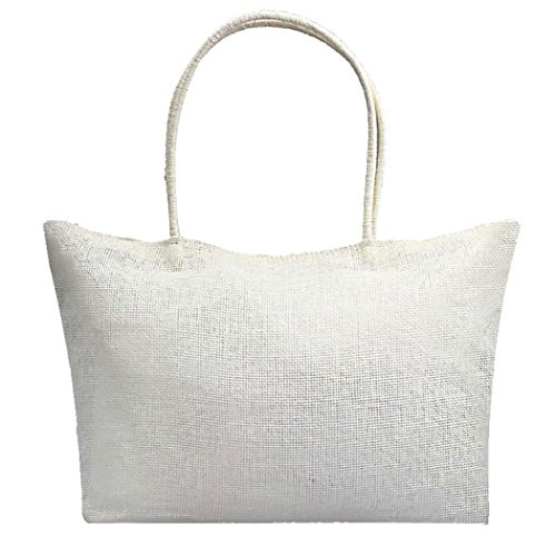 Ba Zha Hei  Damen Handtasche Stroh Schultertaschen Einfache Süßigkeit-Farben-große Stroh-Strand-Taschen-Frauen-beiläufige Umhängetasche Taschen Henkeltasche Shopper (Weiß)