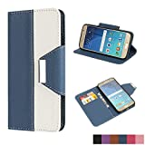 Galaxy S6 Hülle, Samsung Galaxy S6 Hülle, MTRONX Magnetisch Ultra Flip PU Leder Weich TPU Wallet Case Cover mit Kartenfach und Ständer für Samsung Galaxy S6 - Dunkel Blau(CM-DB)