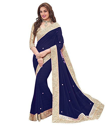 Vk Saree Chiffon Saree (Navy Blue, Free Size)