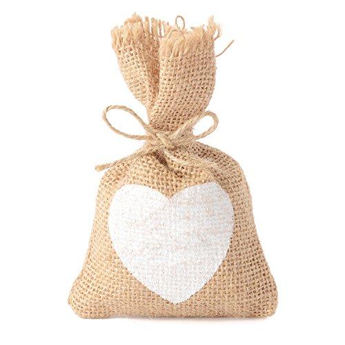 Advantez 10Pack natürliche Jute Sackleinen Säcke Gunst Tüten Süßigkeiten Geschenk Taschen rustikal Hochzeit Bridal Shower No Letter