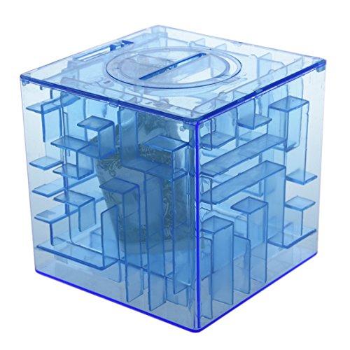 Caja de coleccion - SODIAL(R)Banco del laberinto de dinero cubico de plastico Caja de coleccion de ahorro de moneda 3D Rompecabezas (Azul)