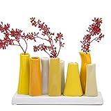 Chive Pooley 2, Keramik-Blumenvase in einzigartigem Design: niedrige, rechteckige, moderne und dekorative Vase für Zuhause, Wohnzimmer, Büro oder dekorative Akzente, gelb.