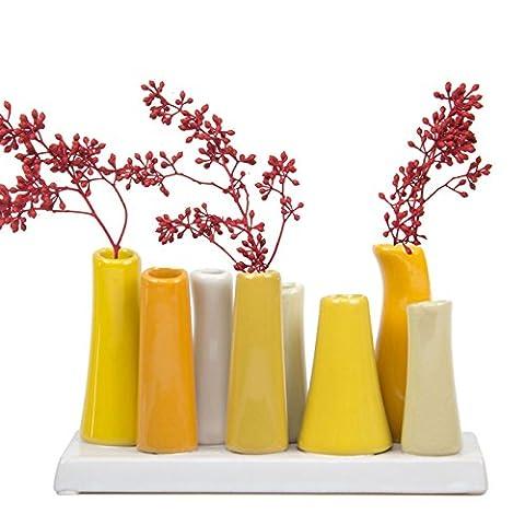 Mini Vase 8 tubes Jaune par Chive