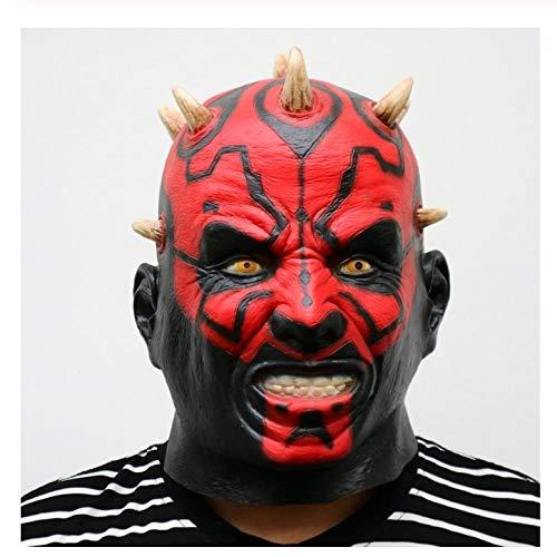YAX Masken Latex Star Wars Film Darth Maul Maske Voller Kopf Scary Horror Halloween Kopf Maske Für Kostüm Party Ball Kostüm (Darth Maul Kostüm Männer)