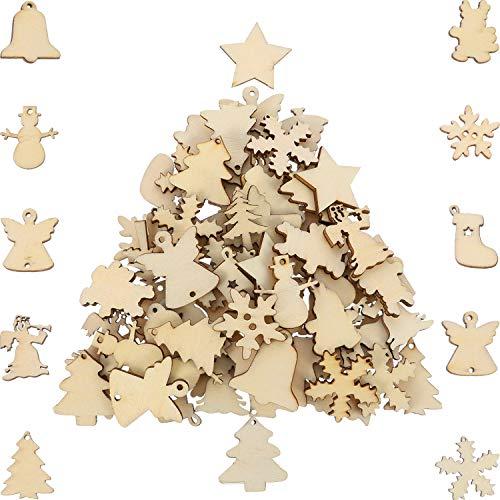 150 pezzi ornamenti di legno mini a tema natale naturale fette di legno decorativo taglio fette di legno per l'albero di natale ornamenti da appendere diy craft natale decorazioni