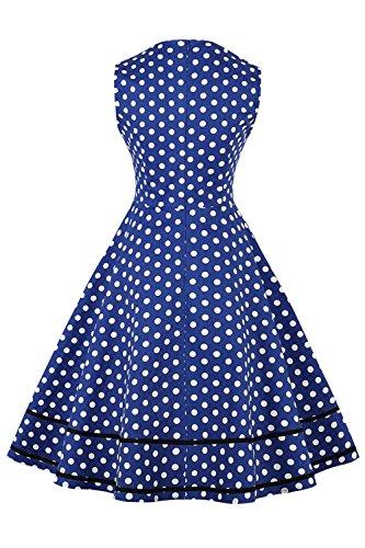 Robe Femme Vintage Imprimée à Pois Mi Longue Elégante Style Audrey Hepburn Sans Manche Col Cœur Swing en Coton par MisShow Bleu