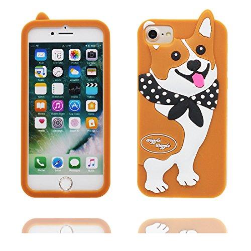 """iPhone 7 Coque, 3D Cartoon Shiba inu Cover iPhone 7 étui (4.7 pouces) TPU souple Shell iPhone 7 Case (4.7"""") poussière glissement résistant aux rayures # 2"""