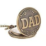 AWStech Vintage Herrenuhr DAD Carving Pocket Watch Bronze Quarz Taschenuhr
