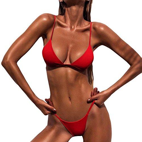 CAOQAO Damen Push Up Gepolsterter BH Strand Bikini Set Zweiteilige Badeanzug Strandkleidung Badeanzug Bademode Triangel Oberteil Bandeau Strandmode Sport Split