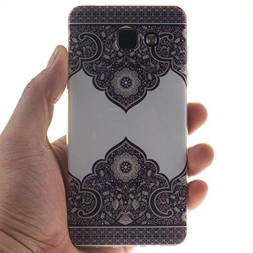 Samsung Galaxy A3(2016) A310 hülle MCHSHOP Ultra Slim Skin Gel TPU hülle weiche Silicone Silikon Schutzhülle Case für Samsung Galaxy A3(2016) A310 - 1 Kostenlose Stylus (Black Lion) Blue and White Porcelain