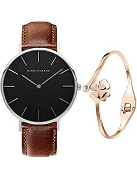 XLORDX Classic Damen-Armbanduhr Analog Quarz Braun Leder Armband, 36mm Schwarz Silber Zifferblatt mit Elegant...