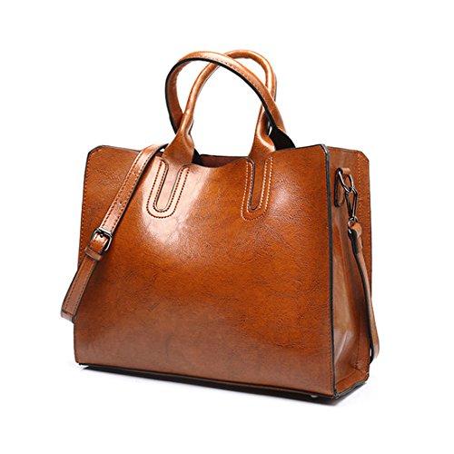 DEERWORD Damen Umhängetaschen Handtaschen Totes Henkeltaschen Schultertaschen Leder Braun