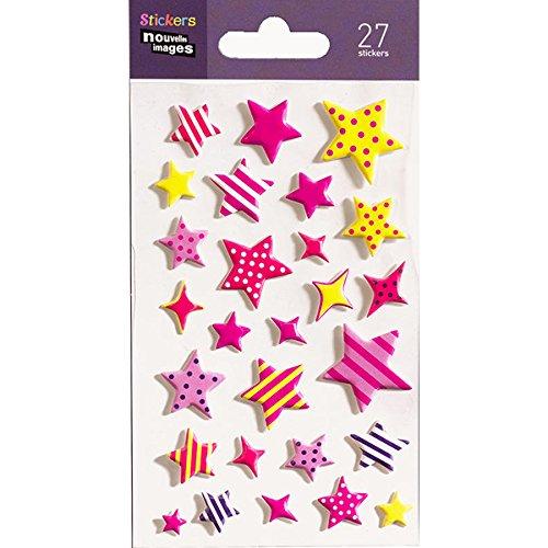 Unbekannt Neue Bilder 75007533Etoiles Farbige Set 27Mini Sticker Finish Material Schaumstoff Mehrfarbig 14.49x 7,8x 0,1cm - Reve Finish