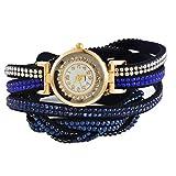 MJARTORIA Damen Boho Strass Armbanduhr Elegant Lederarmband Damenuhr Analog Quarz Uhr Für Mädchen Blau
