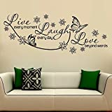 #8: WallMantra Live laugh & love Wall Sticker Premium Quality (122 cm X 47 cm Vinyl Home Decor)